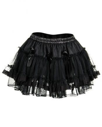 Black tulle mini skirt with roses