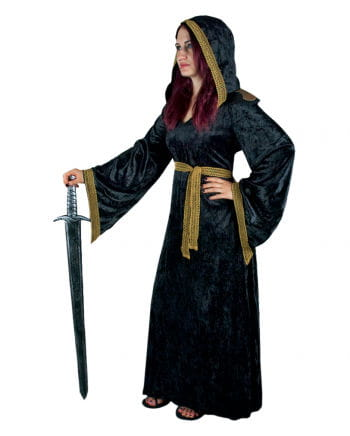 Priesterin Mittelalter Samtkleid mit Kapuze