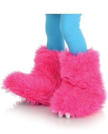Haarige Monster Stiefelstulpen pink