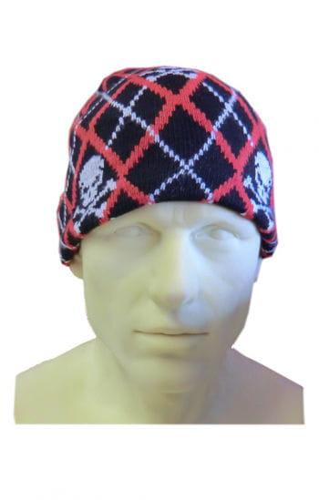 Mütze rot/schwarz kariert Skulls