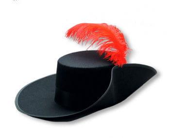 Schwarzer Musketier Hut mit roter Feder