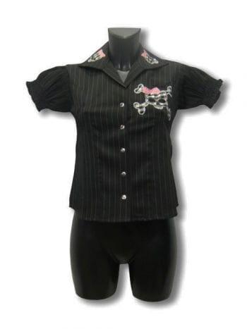 Pinstripe Shirt With Skull