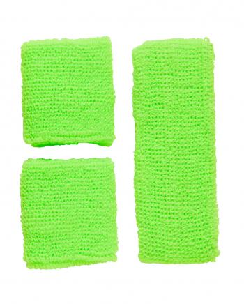 Neon Sweatband Set Green As Costume Accessory