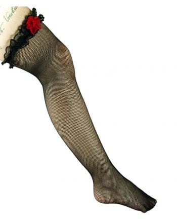 Fishnet Hold Ups Black with Ribbon and Rose