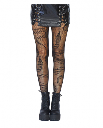 Fishnet Pantyhose With Snake Pattern