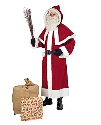 Weihnachtsmann Mantel mit Pellerine und Kapuze