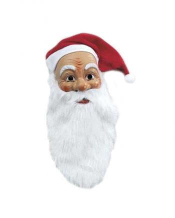 Santa Claus Mask With Plush Beard And Cap