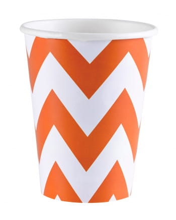 Orange Zig-zag Paper Cups 8 Pcs.
