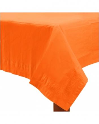 Orangene Tischdecke aus Papier 1,37 x 2,74 m