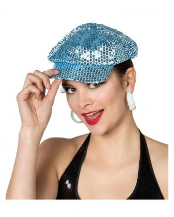 Sequined baseball cap blue