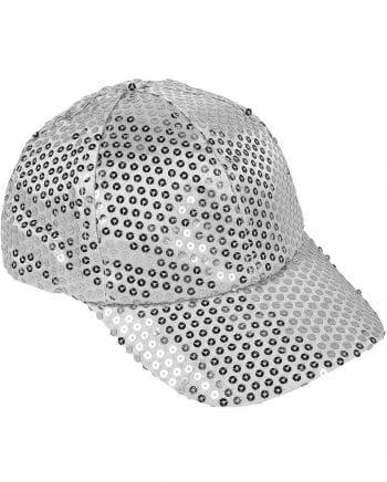 Silberne Pailletten Kappe