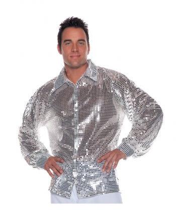 Pailletten Herrenhemd Silber