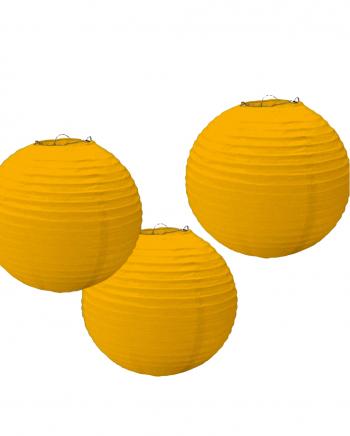Lampion Set aus Papier 3 tlg. Gelb