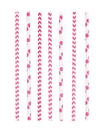 12 Papier Trinkhalme Pink