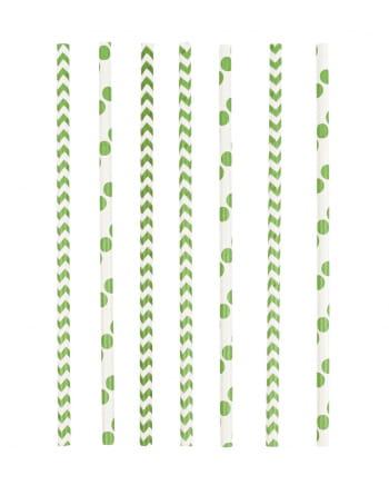 12 Papier Trinkhalme Grün