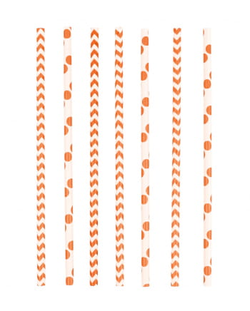 12 Papier Trinkhalme Orange