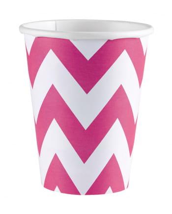 Pink Zig-zag Paper Cups 8 Pcs.