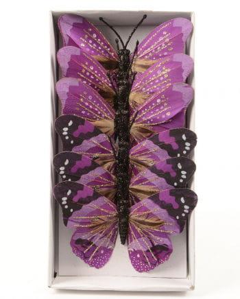 Pinke Glitzerschmetterlinge 6er Set 10 cm
