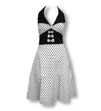 Pünktchen Kleid weiß schwarz L / 40