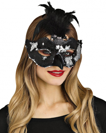 Raven Mask With Feathers And Sequins