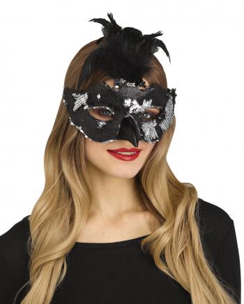 Raben Maske mit Pailletten und Federn