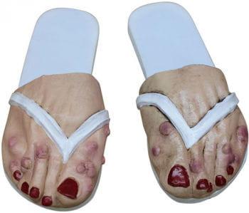 Runzelige Frauen Füße