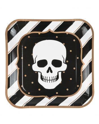 8 Retro Halloween Pappteller Totenschädel