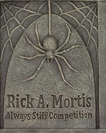 Grabstein mit Spinnennetz & Spinne 70cm