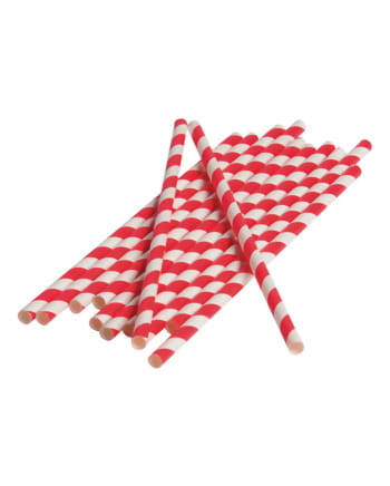12 Papier Trinkhalme Rot Weiß