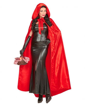 Red Satin Cape With Hood