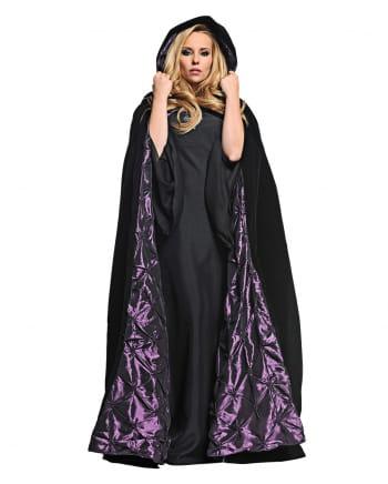 Velvet hooded cape black-purple