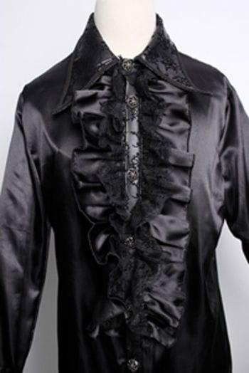 Satin shirt with ruffles black