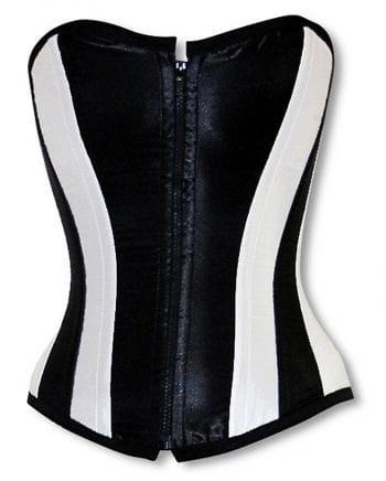 Satin Corset Black and White S