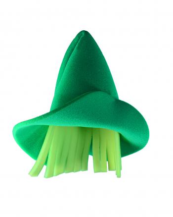 Grüner Elfen Hut mit Haaren aus Schaumstoff