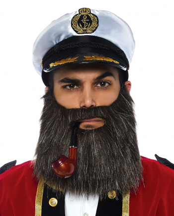 Ship Captain Set With Beard, Whistle And Cap