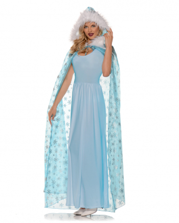 Schneekönigin Kostüm Cape blau