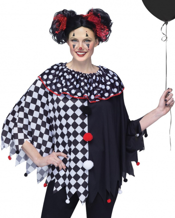 Black White Clowns Poncho One Size