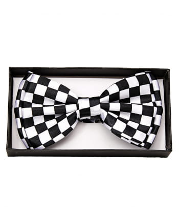 Black And White Checked Bow Tie Deluxe