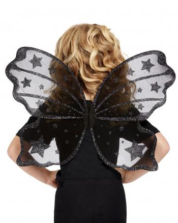 Schwarze Feenflügel mit Glittersternchen