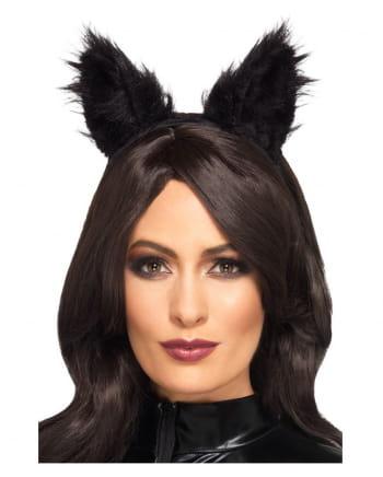 Kunstfell Katzenohren schwarz