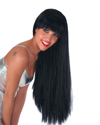 Black extra long wig with bangs