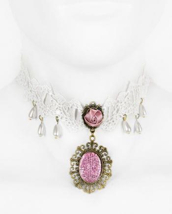 Viktorianische Halskette mit rosa Schmuckstein