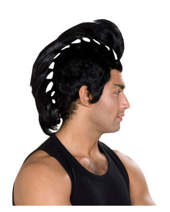 Black mohawk wig with pigtails