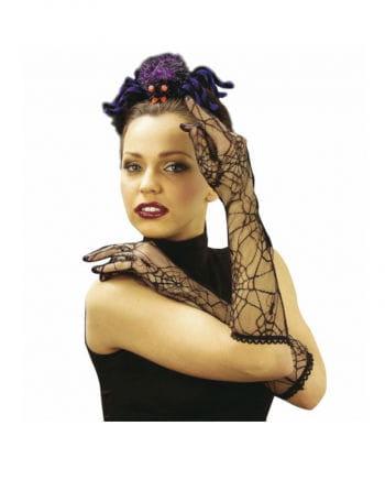 Schwarze Spitzen Spinnweben Handschuhe