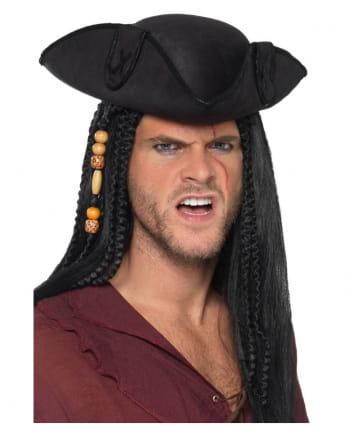 Dreispitz Piratenhut schwarz