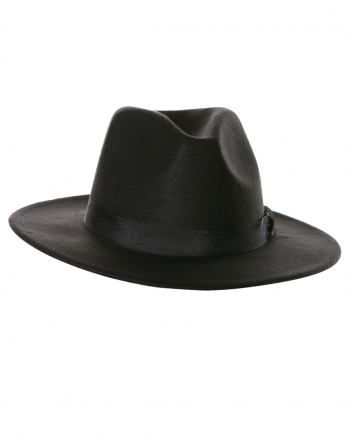 Black Felt Hat With Hatband