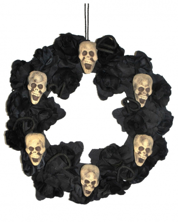 Halloween Door Wreath With Roses & Skulls