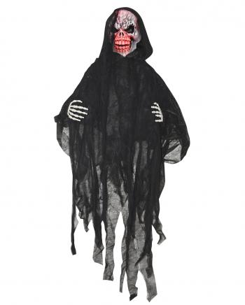 Schwarzer Grim Reaper mit leuchtendem Totenschädel