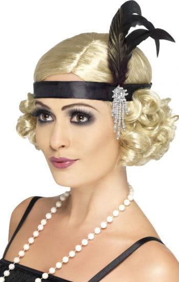 Charleston Stirnband mit schwarzer Feder