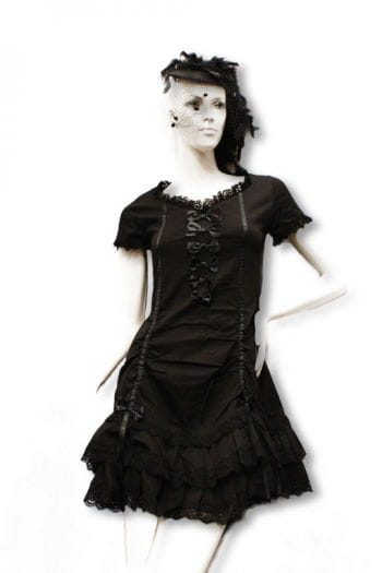 Black dress with satin bows